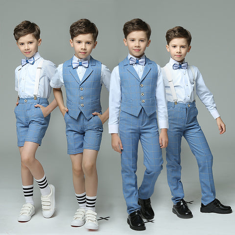 Boys Suit Ensemble Blue 4pcs/set  - Strap/Vest+Shirt+Shorts/Pants+Bowtie