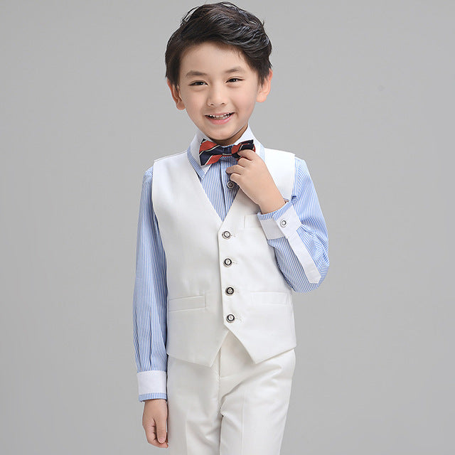 Boys Suit Long Performance White 4pcs/set  - Vest+Shirt+Pants+Bowtie - Goggi, Jolli & Milki - www.gojomi.com