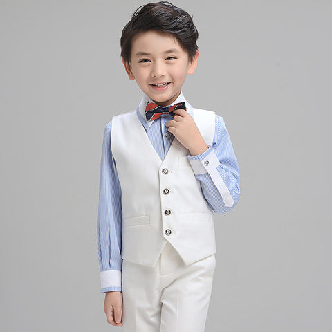 Boys Suit Long Performance White 4pcs/set  - Vest+Shirt+Pants+Bowtie