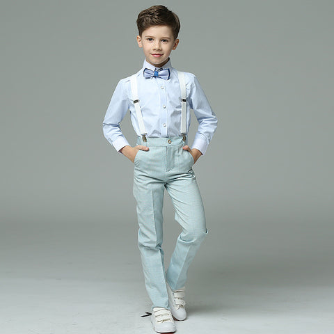 Boys Suit Long Showtime Blue 4pcs/set  - Strap+Shirt+Pants+Bowtie