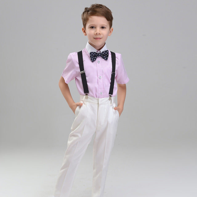 Boys Suit Long Showtime Pink 4pcs/set  - Strap+Shirt+Pants+Bowtie - Goggi, Jolli & Milki - www.gojomi.com