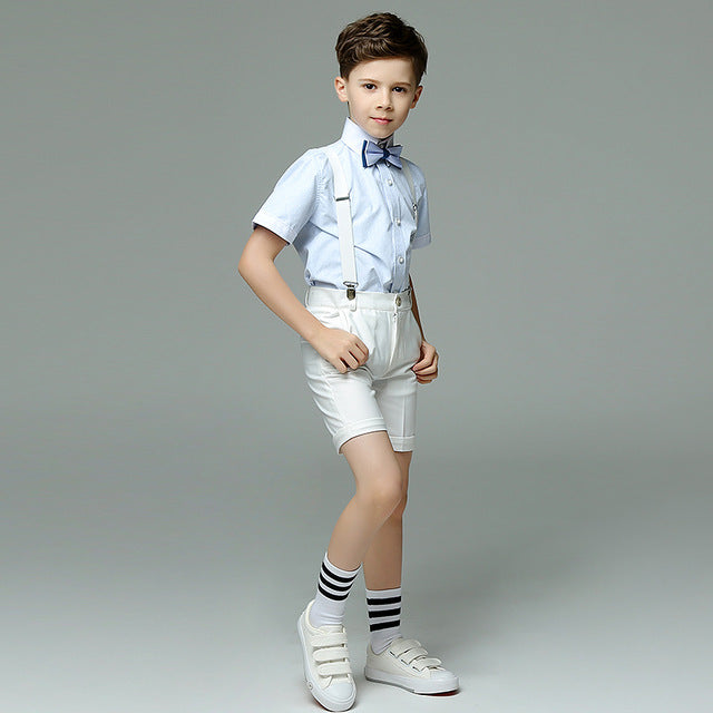 Boys Suit Short Showtime Solid Light 4pcs/set  - Strap+Shirt+Shorts+Bowtie - Goggi, Jolli & Milki - www.gojomi.com