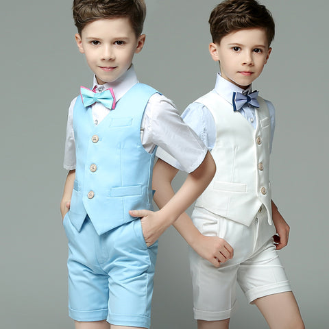 Boys Suit Short Performance 4pcs/set Solid Light - Vest+Shirt+Shorts+Bowtie - Goggi, Jolli & Milki - www.gojomi.com