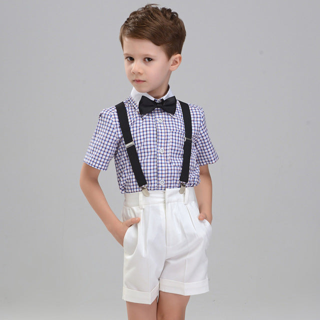 Boys Suit Short Showtime Plaid 4pcs/set  - Strap+Shirt+Shorts+Bowtie - Goggi, Jolli & Milki - www.gojomi.com