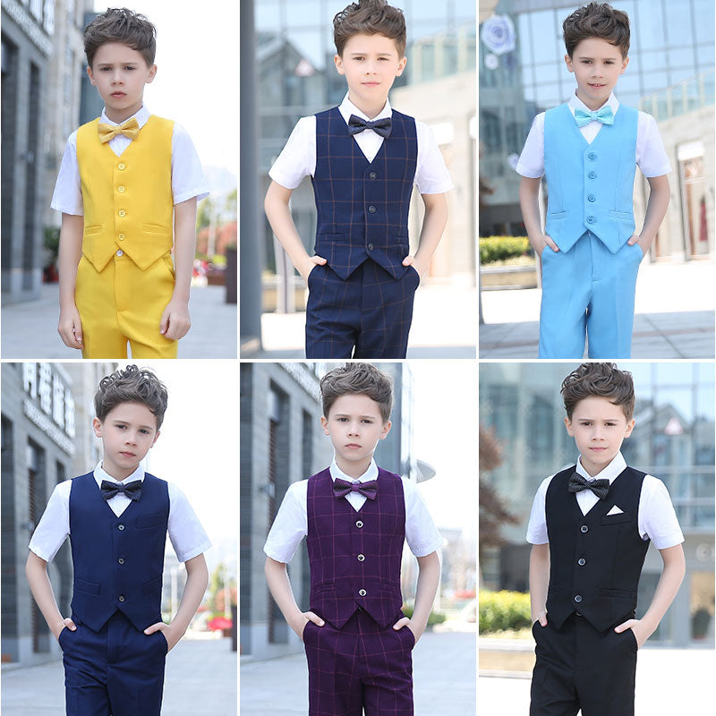 Boys Suit Short Performance Solid Various 4pcs/set Solid Light - Vest+Shirt+Shorts+Bowtie - Goggi, Jolli & Milki - www.gojomi.com