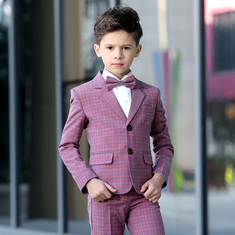 Boys Suit Full Performance Plaid Pink 5pcs/set  - Vest+Shirt+Shorts+Bowtie+Jacket