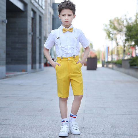 Boys Suit Short Showtime Solid Bright 4pcs/set  - Strap+Shirt+Shorts+Bowtie - Goggi, Jolli & Milki - www.gojomi.com