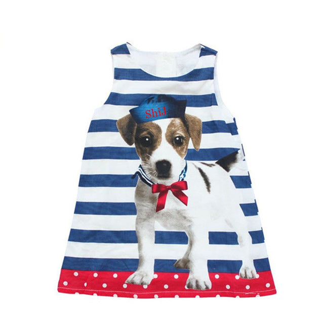 Girls Dress Casual Puppy with Blue White Stripes