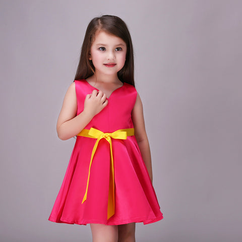 Girls Dress Casual Red Party