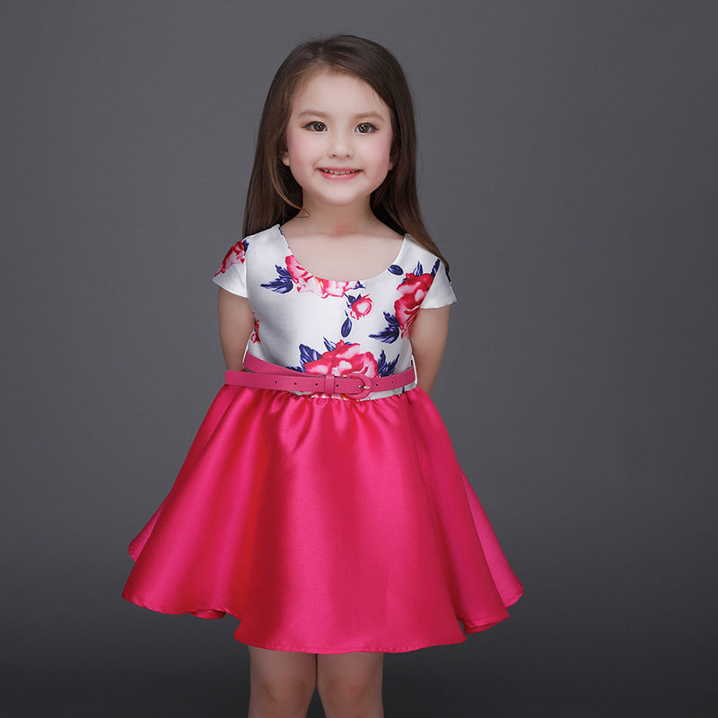 Girls Dress Casual Flowers with Pink Skirt