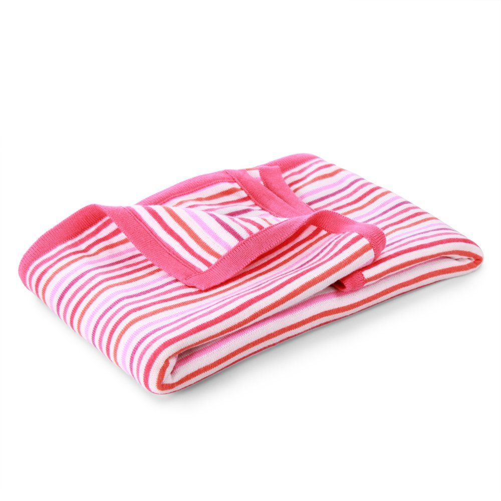 Rainbow Knit Stripe Blanket Rose