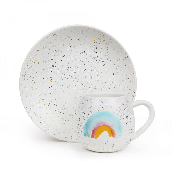 Mini Hug Me Mug and Plate Set - Rainbow Splatter