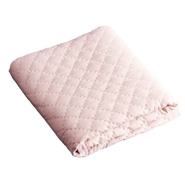 100% Linen Diamond Cot Quilt Blush