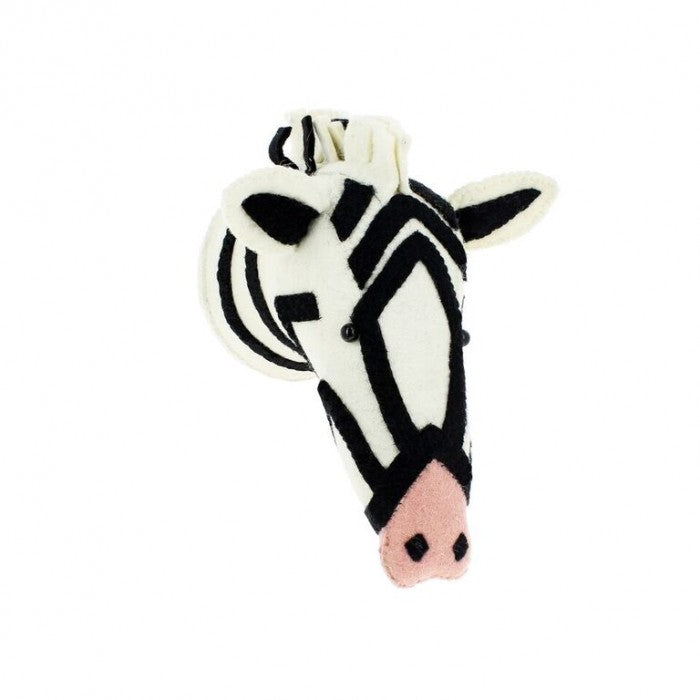 Semi Felt Animal Zebra Head with Pink Nose