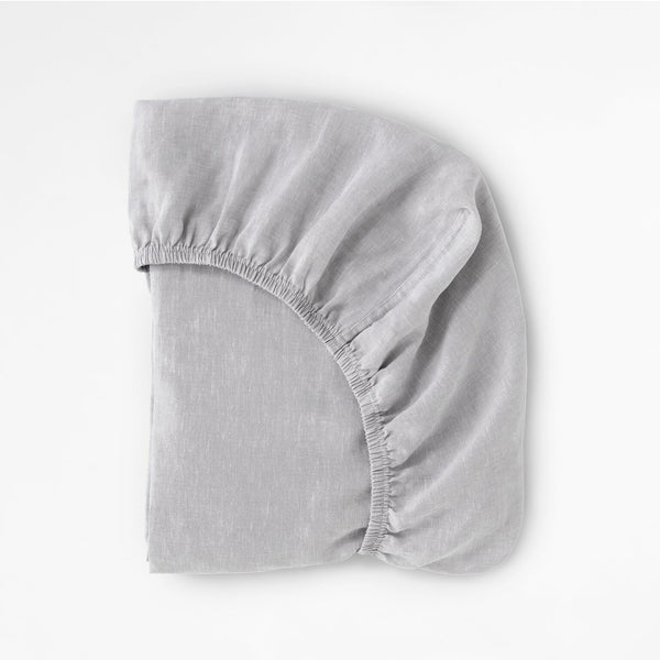 100% Linen Fitted Cot Sheet Silver