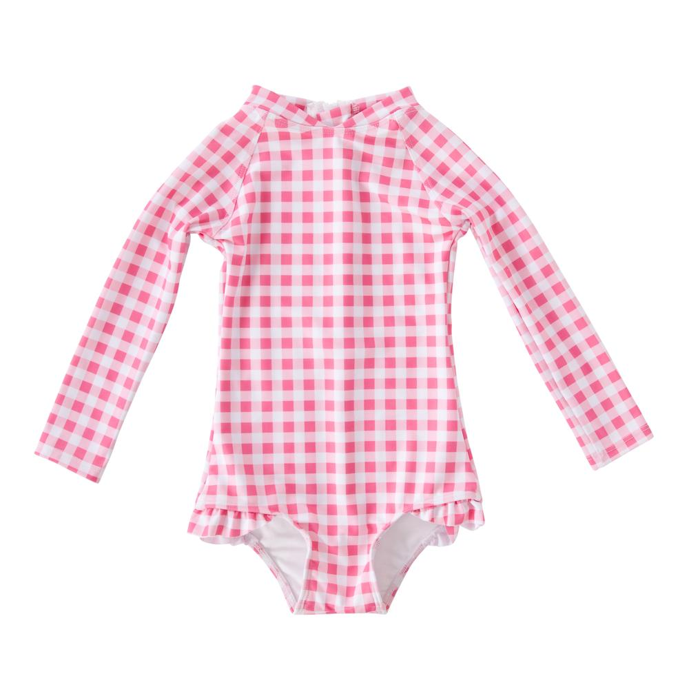 Violet Full Piece Swimsuit Style w Frill in Gingham