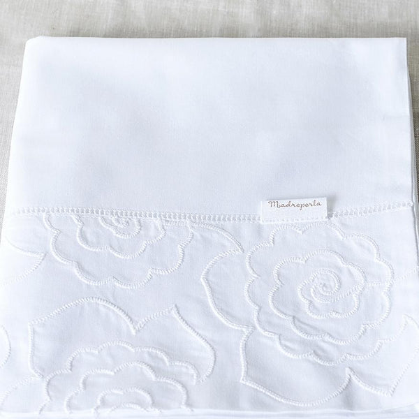 Camellia Cot Pillowcase White