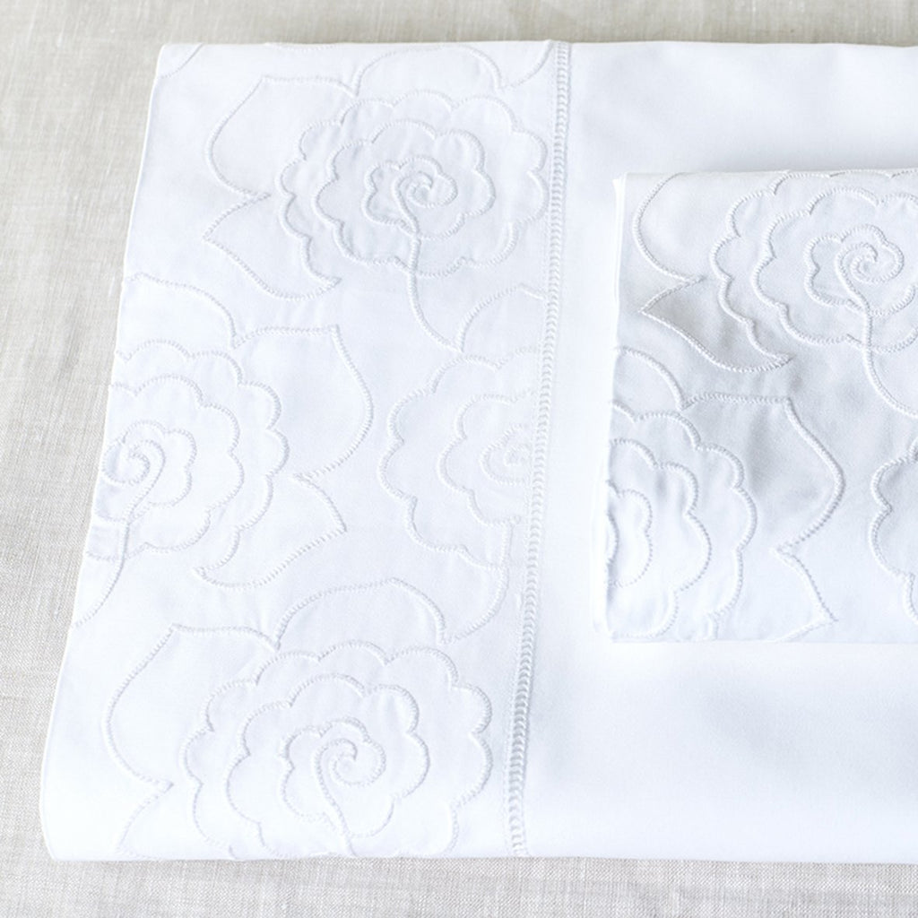 Camellia Cot Sheet Set White