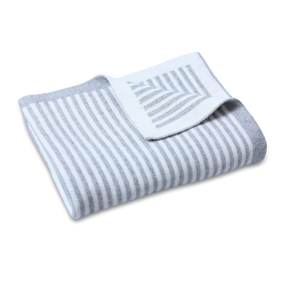 CooCoo Cotton Knit Stripe Blanket Grey