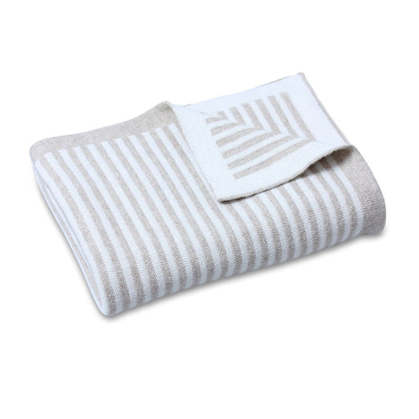 CooCoo Cotton Knit Stripe Blanket Natural