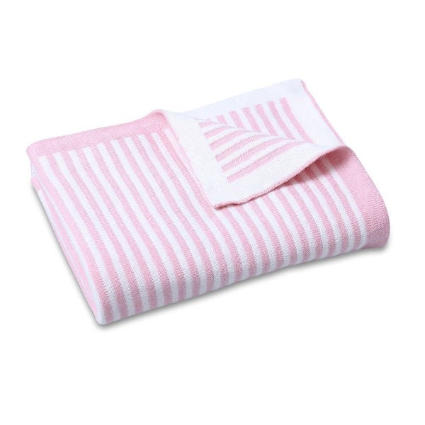 CooCoo Cotton Knit Stripe Blanket Pink
