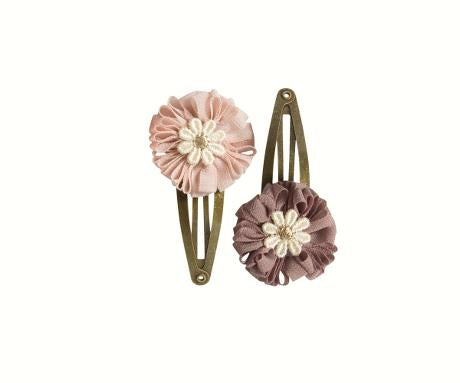 Fluffy Flower Clips 2pc in Rose