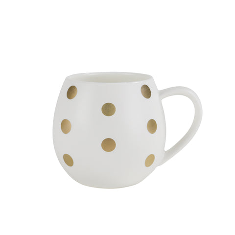 Mini Hug Me Mug White & Gold Spot