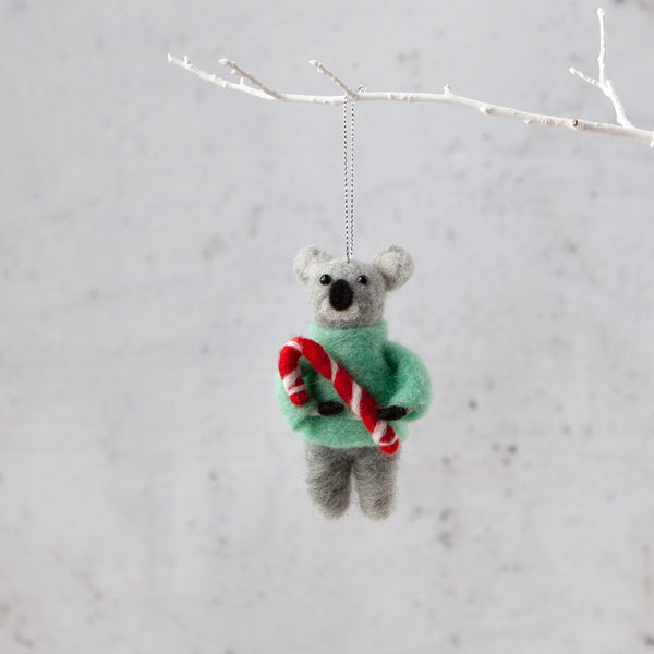 Felt Koala With Candy Cane