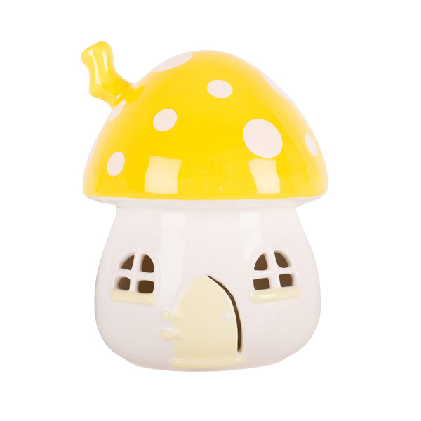 Fairy House Night Light Yellow with White Dots
