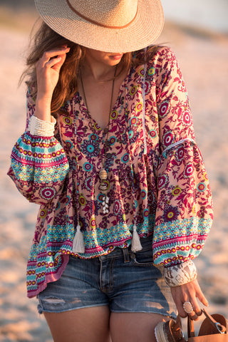 LENNOX peasant blouse - by Kirana Boho Threads