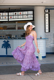 "Kirana WANDA 15"" large brim hat in White worn with KALANI flounce dress in Lavender & BERNIE sandals in Vanilla"