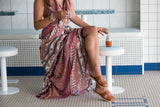Kirana MARIE-CLAIRE maxi dress worn with YALE sandals in Fudge