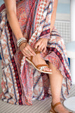 Kirana LISA sandal is worn with MARIE-CLAIRE maxi dress