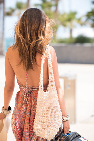 Kirana POPPY beaded tote in Natural worn with MARIE-CLAIRE maxi dress