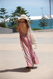 "Kirana WANDA 13"" small brim hat in Natural worn with MARIE-CLAIRE maxi dress, ELY sandals in Dark-Chocolate & POPPY beaded tote in Natural"