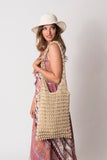 "Kirana WANDA 13"" small brim hat in Natural & POPPY beaded tote in Tan"