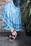 Kirana DAVINA sandal in Liquorice worn with COLBIE midi-maxi skirt in Cornflower-Blue