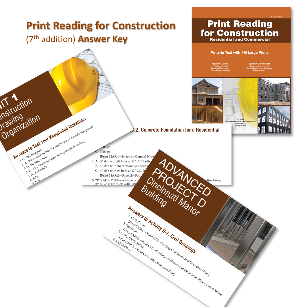 Print Reading for Construction Answer Key - 7th Edition