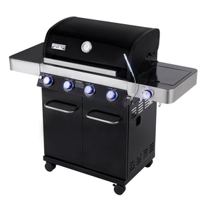 13892 4-Burner Propane Gas Grill, Black ,LED Controls,Side Burner,USB Light