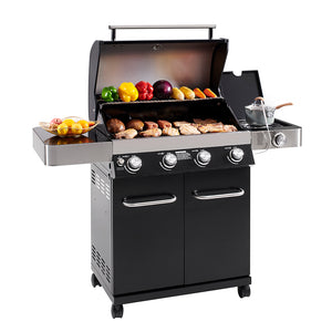 4-Burner Propane Gas Grill, Black, LED Controls, Side Burner, USB Light - Monument Grills