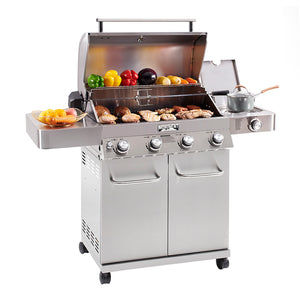 17842 4-Burner Propane Gas Grill, Stainless, LED Controls, Side Burner, Rotisserie - Monument Grills