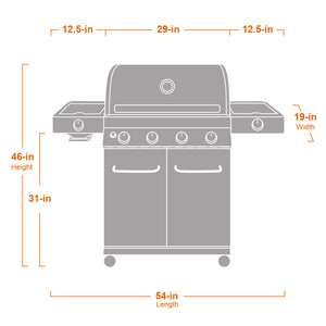 24367 4-Burner Propane Gas Grill, Stainless, LED Controls, Side & Side Sear Burners - Monument Grills