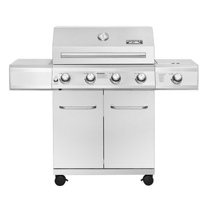 NEW!!!! 25392 – 4-Burner Propane Gas Grill in Stainless with LED Controls & Side Burner