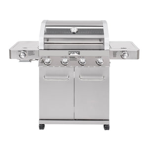 35633 4-Burner Propane Grill, Stainless, Clear View, LED Controls, Side & Sear Burners