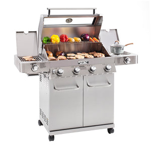 35633 4-Burner Propane Gas Grill, Stainless, ClearView Lid, LED Controls, Side & Sear Burners - Monument Grills