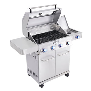41847NG  4-Burner Propane Gas Grill (Convertible to Natural Gas) in Stainless with Clear View Lid, LED Controls and Side Burner