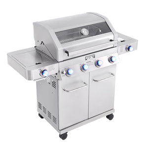 35633 - 4-Burner Propane Grill, SS, ClearView, LED Controls, Side & Sear Burners