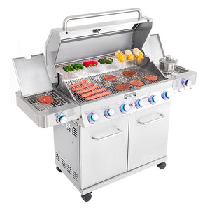 77352MB ClearView 6-Burner Propane Gas Grill with Smoke Box, Sear and Side Burners
