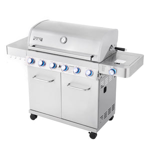 77352 6 Burner Propane Gas Grill in Stainless with LED Controls, Rotisserie Kit and Side Burner