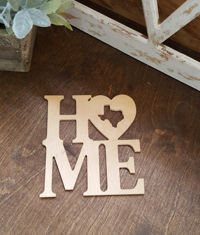 Home with Heart & State Shape cut out